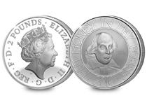This 2016 Silver £2 coin features an exclusive customised design of William Shakespeare.