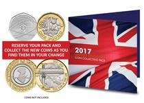The 2017 Commemorative Coin Collecting Pack has space to fit the 3 new commemorative coins that will be issued in 2017.