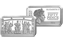 This Silver 50p coin-bar depicts the 'missing scene' from the Bayeux Tapestry - the 70m tapestry that tells the story of the Battle of Hastings. This coin-bar shows William being crowned King.