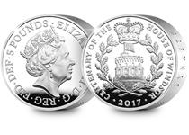 This 2017 Silver Proof Piedfort £5 has been issued by the Royal Mint to celebrate the centenary of the House of Windsor. The reverse design is based on the badge of the House of Windsor.