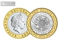 This £2 has been issued since 1997 as the UK's definitive £2 coin. This £2 has been protectively encapsulated and certified as Superior Brilliant Uncirculated quality.