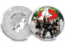 Released by Perth Mint and issued by Tuvalu, this 1oz coin is struck from 999.9/1000 pure silver and features a photographed image of the Ghostbusters crew, armed with proton packs.