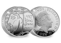 This .925 Silver Piedfort £5 has been issued by the Royal Mint and finished to a proof standard. The obverse is Jody Clark's portrait of QEII, the reverse is King Canute.
