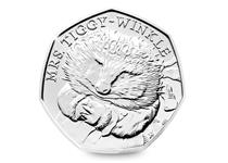 This 50p was released as part of a set paying tribute to the work of Beatrix Potter. This coin features the design by Emma Noble of Mrs Tiggy-Winkle.