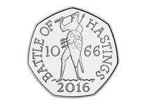 To commemorate the 950th anniversary of the Battle of Hastings, a 50p coin was issued.