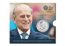 The Royal Mint have issued this £5 BU Pack to celebrate Prince Philip's Life in Service as he retires from his duties. The reverse shows his portrait, while the obverse features his wife, QEII.