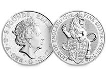 The Queen's Beasts 2oz. Silver Bullion coin is the first official Two-Ounce Silver Bullion coin from the Royal Mint. The coin depicts the Lion (one of the Queen's Beasts)
