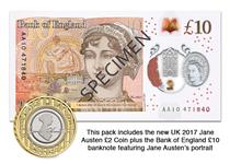 This Pack features the Jane Austen £2 coin issued in 2017 which has been struck to a BU finish. It features the brand new polymer £10 note issued by the Bank of England on the 14th Septemeber 2017.