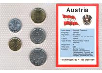 This coin set features the currency of Austria before the intro- duction of the EURO in 2002. It features every denomination from Austria that was still in circulation in 2001.