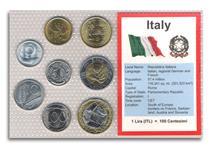 This coin set features the currency of Italy before the intro- duction of the EURO in 2002. It features every denomination from Italy that was still in circulation in 2001.