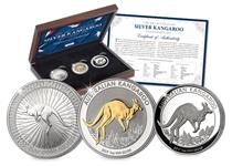 This 2017 Australian Silver Kangaroo Set contains the 2017 1oz Silver Bullion Kangaroo, 1oz Silver Gilded Kangaroo and 1oz Silver Proof HighRelief Kangaroo. Edition limit of set is 250.