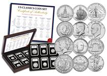 This Coin Set contains twelve of the most classic coins issued in the USA, that speak of the history of the country. They come in a presentation box with Certificate of Authenticity.