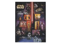 A 15 value Star Wars stamp sheet, issued by United States Postal Service in 2007, displaying key characters and scenes from the original films.