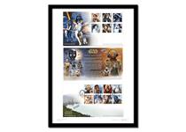 Limited Edition A3 Presentation Frame featuring Royal Mail's      official Star Wars FDC and Souvenir Cover, alongside Royal Mail's official release notes.