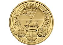 Issued in 2010 as part of the £1 City series, the reverse design features the Coat of Arms of the city of Belfast. Uncirculated.