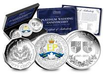 This Platinum Wedding Silver Proof Set contains the Perth Mint 1oz Coin, the Royal Australian Mint 50 Cents and the Royal Canadian Mint 1oz Coin. Issued to celebrate QEII's 70th Wedding Anniversary.