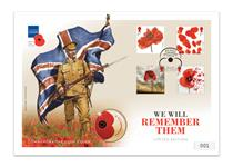 Large Coin Cover issued to mark Remembrance Day (11.11) in 2017. Features Royal Mail's 2014,15,16&17 Poppy Stamps alongside a British Isles officially licensed RBL £5 Coin.