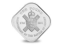 This Jersey Square £1 coin was issued in 1981 to commemorate the bicentenary of the Battle of Jersey. It's unique shape makes this coin particularly sought after. Circulation quality.