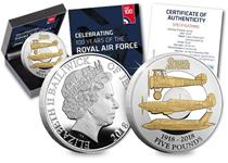 To celebrate 100 years since the formation of Britain's RAF in 1918, Jersey have issued this £5 proof coin featuring the Sopwith Camel, Supermarine Spitfire and the Lockheed Lightning II.