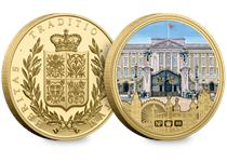 Exclusively plated in 24 Carat Gold. Reverse features colour painting of Buckingham Palace and NP Hallmarks. Obverse features NP Coat of Arms. With Certificate of Authenticity.
