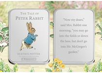 Beatrix Potter's The Tale of Peter Rabbit, has been made beautifully engraved on a pure silver-plated ingot. The design features the front and back covers of the original book. EL: 19,500