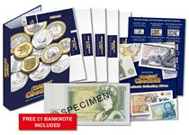 Includes pace for all banknotes since decimalisation. Included are id cards for each note, an information page about notes and chief cashiers, a Change Checker album, and a FREE £1 banknote.