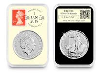 This 2018 UK 1oz Silver Britannia has been encapsulated in a tamperproof capsule and postmarked by Royal Mail with the date 01/01/2018. Edition limit: 500.