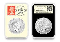 This DateStamp 2018 Year of the Dog 1oz Silver Coin has been officially postmarked by Royal Mail with the date of the Chinese New Year, 16/02/18. It comes presented in a tamperproof capsule.