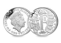 This Silver 10p has been struck by The Royal Mint to celebrate Great Britain. It features the letter 'F' and represents Fish and Chips. This 10p comes presented in an acrylic block.