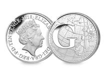 This Silver 10p has been struck by The Royal Mint to celebrate Great Britain. It features the letter 'G' and represents Greenwich mean time. This 10p comes presented in an acrylic block.