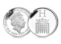 This Silver 10p has been struck by The Royal Mint to celebrate Great Britain. It features the letter 'H' and represents Houses of Parliament. This 10p comes presented in an acrylic block.
