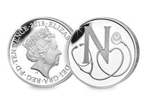 This Silver 10p has been struck by The Royal Mint to celebrate Great Britain. It features the letter 'N' and represents the National Health Service. This 10p comes presented in an acrylic block.