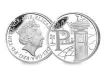 This Silver 10p has been struck by The Royal Mint to celebrate Great Britain. It features the letter 'P' and represents Post Box. This 10p comes presented in an acrylic block.