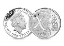 This Silver 10p has been struck by The Royal Mint to celebrate Great Britain. It features the letter 'X' and represents X Marks the Spot. This 10p comes presented in an acrylic block.