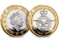 This 2018 RAF Centenary Silver Proof £2 has been issued by The Royal Mint to celebrate the 100th Anniversary of the RAF. The reverse features the badge of the RAF and the obverse QEII.