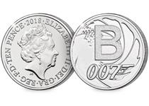 This 10p coin has been issued by The Royal Mint to celebrate Great Britain. It features the letter 'B' and represents Bond 007.