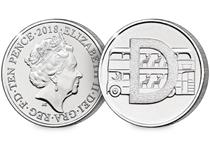 This 10p coin has been issued by The Royal Mint to celebrate Great Britain. It features the letter 'D' - double-decker buses.