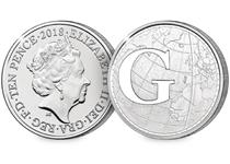 This 10p coin has been issued by The Royal Mint to celebrate Great Britain. It features the letter 'G' - Greenwich Meantime.