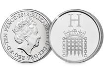 This 10p coin has been issued by The Royal Mint to celebrate Great Britain. It features the letter 'H' and represents the Houses of Parliament.