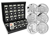 Your set contains 26 new Silver 10p coins issued by The Royal Mint to celebrate Great Britain. Each coin is encapsulated in a tamperproof capsule and postmarked by Royal Mail for 01/03/2018.
