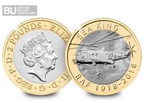 This £2 was issued by The Royal Mint in 2018 to commemorate the 100th Anniversary of the RAF. It celebrates the Sea King rescue helicopter. This £2 has been encapsulated and certified as BU.