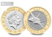 This £2 was issued by The Royal Mint in 2018 to commemorate the 100th Anniversary of the RAF. It celebrates the F-35 Lightning II. It has been encapsulated and certified as Brilliant Uncirculated.