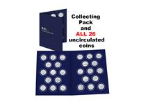 The 2018 UK Complete 10p Set includes all of the A-Z 10p coins issued by The Royal Mint in 2019.