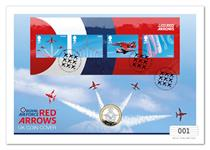 UK Coin Cover to commemorate the Red Arrows. Features Royal Mail's 2018 Red Arrow Miniature Sheet and The Royal Mint's 2018 RAF £2 Coin. Officially licensed by the MOD. Postmark: 20.03.18 EL: 495.