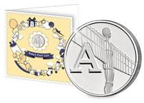 This 10p coin has been issued by The Royal Mint to celebrate Great Britain. It features the letter 'A' and represents the Angel of the North. Presented in a 'Baby's First Coin' card with envelope.