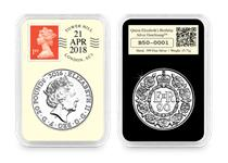 This DateStamp issue is postmarked with the date 21/04/2018 to mark the 92nd birthday of Queen Elizabeth II. It features a half-ounce fine silver coin that was released in 2016. Edition Limit: 195