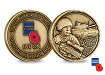 An officially licensed RBL 'Live On' Commemorative Medal. Die cast to a high relief, the obverse features the RBL Logo and the reverse features an engraved design of a modern soldier and tank.