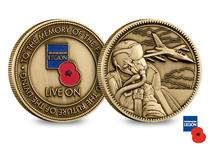 An officially licensed RBL 'Live On' Commemorative. Die cast to a high relief, the obverse features the RBL Logo and the reverse features an engraved design of an RAF jet & serviceman.