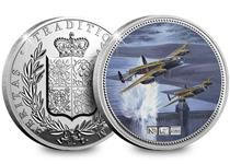 This 2oz Silver NumisProof features a painting of the specially adapted bombers dropping their bombs on a German Dam by Nick Watton.Edition limit: 495.