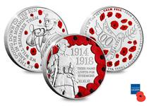 To commemorate the WWI Centenary a set of 3 British Isles coins has been issued featuring: the Douglas War Memorial soldier, the Last Post bugler and a Dove of Peace surrounded by poppies.